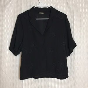 Selected Femme Black Collared Beaded Floral Blouse